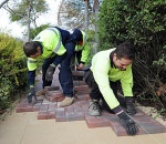 Image of Council workers laying paving stones