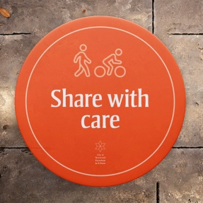 Share with Care Linear Park path message example