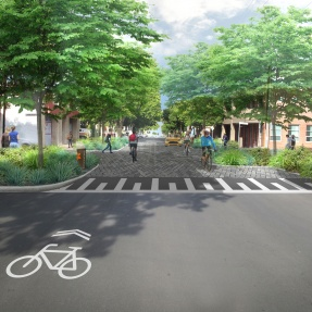 Photomontage of design for Runge Place and Charlotte Place intersection
